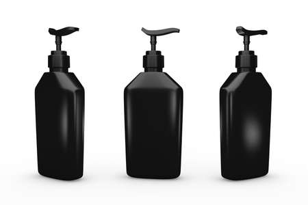 Black bottle with dispenser pump, clipping path included.  Blank bottle packaging for cosmetic or hygiene product like lotion, liquid soap, shampoo or dishwashing liquid. Ready for your design and artwork. 版權商用圖片 - 34829000