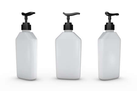 White bottle with dispenser pump, clipping path included.  Blank bottle packaging for cosmetic or hygiene product like lotion, liquid soap, shampoo or dishwashing liquid. Ready for your design and artwork.