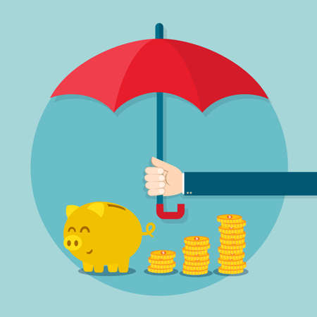 savings risk: Hand holding umbrella to protect money. Vector illustration for financial savings concept.