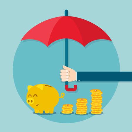 Mano que sostiene el paraguas para proteger el dinero. Ilustración vectorial para el concepto de ahorro financiero. Ilustración de vector