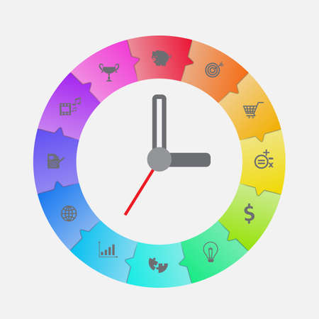 time clock: Infographic clock design vector for time management concept.