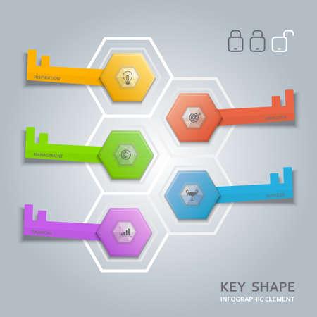 Key shape infographic diagram vector for web design and printing media. 版權商用圖片 - 35133868