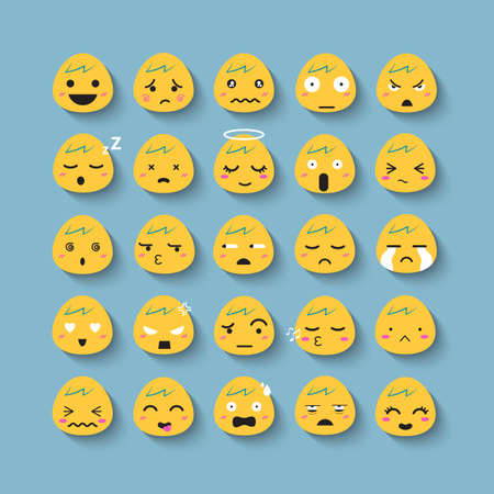 Emotion cartoon face vector icon set.