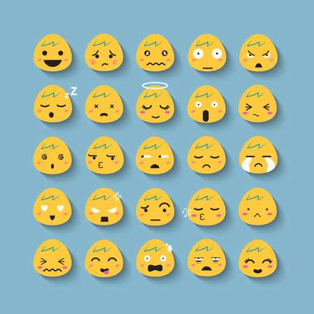 Emotion cartoon face vector icon set.
