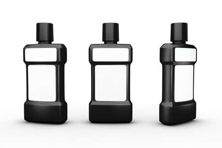 Black plastic bottle with white blank label, clipping path included. Template packaging for beauty , hygiene and health care product.