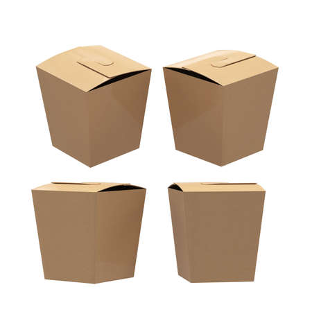 Brown paper taper square butterfly buckle biscuit box with clipping path. Blank packaging template for cookies , cup cake, biscuit or other snack product. Ready for your design and artwork.