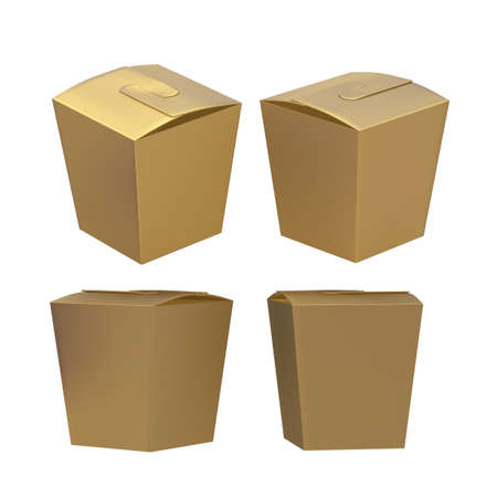 taper: Golden taper square butterfly buckle biscuit box with clipping path. Blank packaging template for cookies , cup cake, biscuit or other snack product. Ready for your design and artwork.