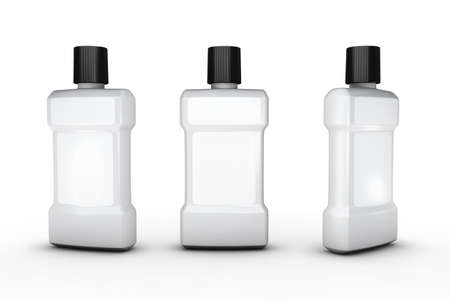 White plastic bottle with white blank label, clipping path included. Template packaging for beauty , hygiene and health care product.
