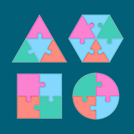 arrange: Jigsaw arrange to geometry shape. Vector template for web design, diagram or print media