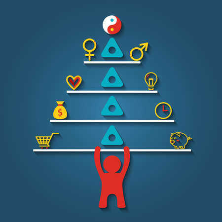 Man lifting stack of vector elements for  life balance concept in flat style. Vector