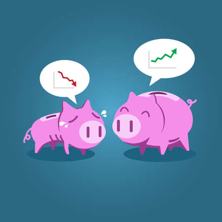 Fat and tiny piggy bank talking about financial situation, vector illustration for economic, investment or financial concept. 版權商用圖片 - 35980908