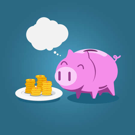 Piggy bank eat gold coin with blank bubble in flat style vector.
