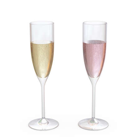 Champagne Flutes Classic Glasses set with liquid, clipping path included 版權商用圖片