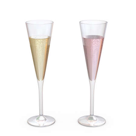 Champagne Trumpet Flutes Glasses set with liquid, clipping path included