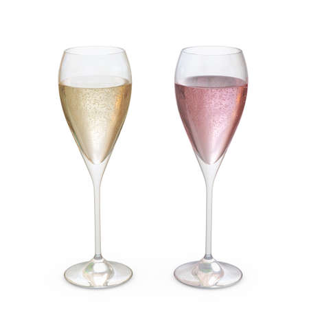 Champagne Tulip Glasses set with liquid, clipping path included 版權商用圖片