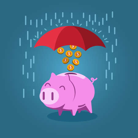 Umbrella protect piggy bank from rain, vector illustration for economic, investment or financial concept. Stock Illustratie