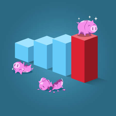 high damage: Strong piggy standing on highest step and someone fall down while jumping on chart. Cartoon vector for growing business , risk, investment or sucess concept.