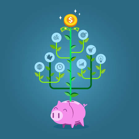 bank branch: Plant with business symbols growing from piggy bank. Flat style vector illustration for investment or growth of business concept.