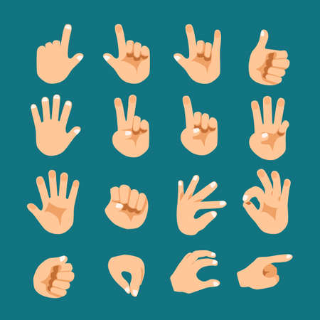 hand touch: Flat style hand gesture vector icon set