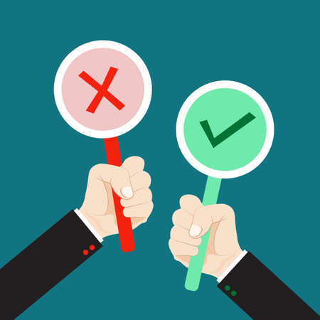 Hand holding true and false sign. Flat style vector for accept and reject concept. Illustration