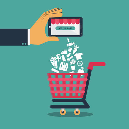 shopping cart: Flat design  vector for shopping on mobile or shopping online via application on smartphone
