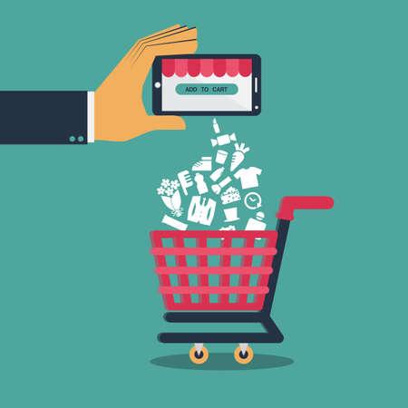 comprando: Vector Dise�o plano para ir de compras en el m�vil o las compras en l�nea a trav�s de la aplicaci�n en el smartphone