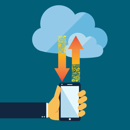 Flat style  cloud computing  and communication  technology concept with mobile phone Vector