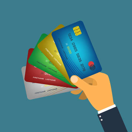 Hand holding credit card flat style vector