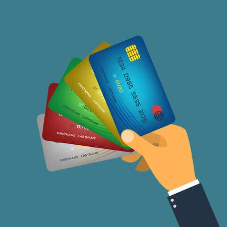 tarjeta visa: Mano que sostiene la tarjeta de crédito de estilo plano vector Vectores