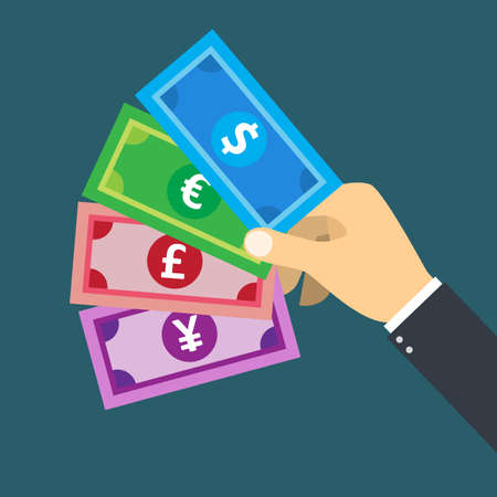 Hand holding  foreign currency banknote  vector for financial and business concept.