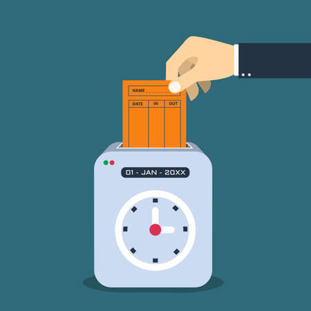 Hand putting  paper card in time recorder machine.  Flat style vector for time stamping  concept. Vector