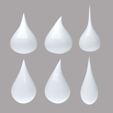 Set of milk drop with clipping path Banque d'images