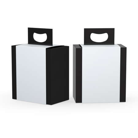 Black paper box with white wrap and handle  packaging for variety products, clipping path included. 版權商用圖片