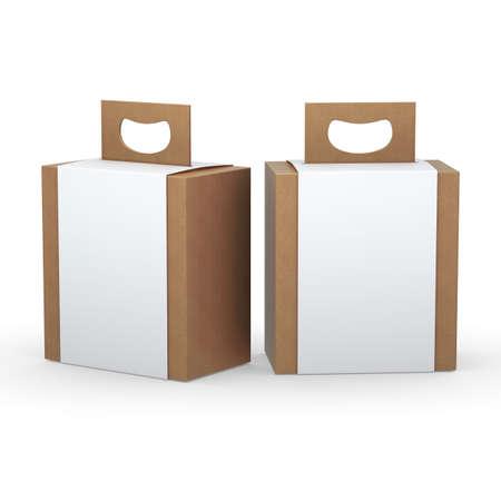 the handle: Caja de papel marrón con papel blanco y manejar los envases de los productos de variedades, incluido el recorte camino. Foto de archivo