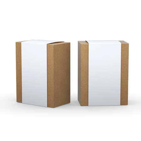 brown paper: Brown paper box with white wrap packaging for variety products, clipping path included.