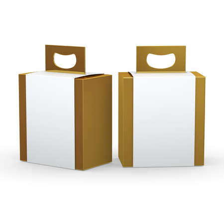 Gold paper box with white wrap and handle packaging for variety products, clipping path included. Stockfoto