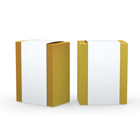 Gold paper box with white wrap packaging for variety products, clipping path included.