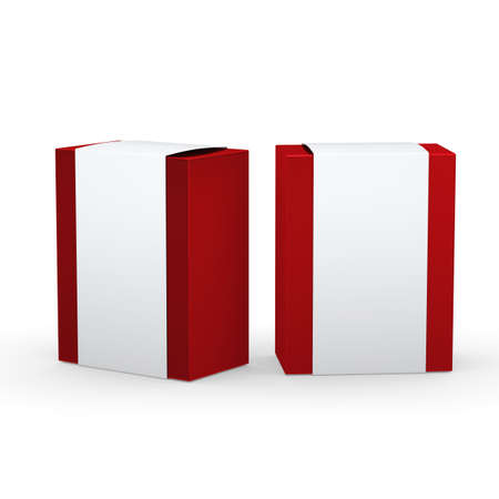 Red paper box with white wrap packaging for variety products, clipping path included. 版權商用圖片 - 39550053
