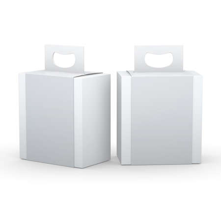 White paper box with gray wrap and handle packaging for variety products, clipping path included. 版權商用圖片