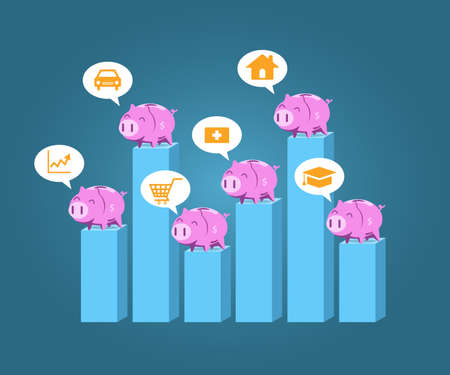 Piggy bank standing on step chart vector for saving money planing concept.