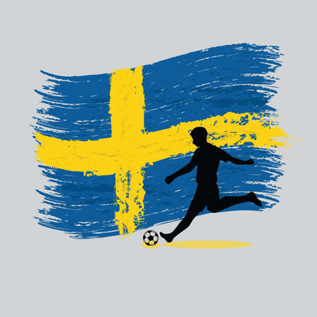 Soccer Player action with Kingdom of Sweden flag on background 向量圖像