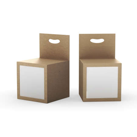 Brown paper box packaging with front window and hanger, clipping path included. Template package for variety product like ink cartridge, electronic or stationery. ready for Your Design and artwork .