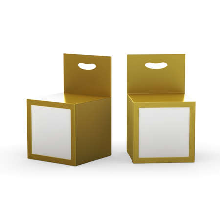 Gold paper box packaging with front window and hanger, clipping path included. Template package for variety product like ink cartridge, electronic or stationery. ready for Your Design and artwork . 版權商用圖片