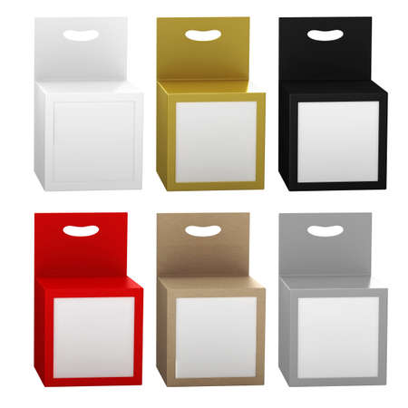 Paper box packaging with front window and hanger set, clipping path included. Template package for variety product like ink cartridge, electronic or stationery. ready for Your Design and artwork .