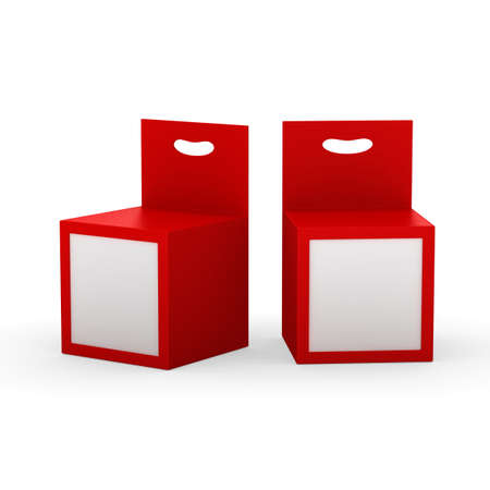 Red paper box packaging with front window and hanger, clipping path included. Template package for variety product like ink cartridge, electronic or stationery. ready for Your Design and artwork . 版權商用圖片