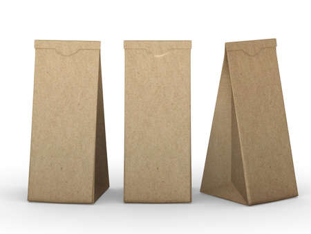 Brown folded paper bag , packaging for food snack or ingredient.