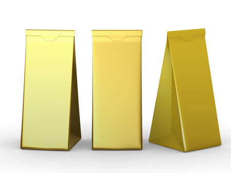 Golden folded paper bag , packaging for food snack or ingredient.