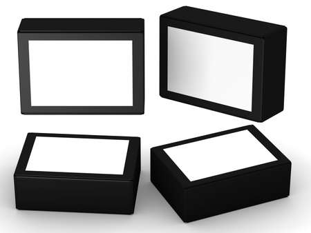 Black paper box packaging with white label, clipping path included. 版權商用圖片
