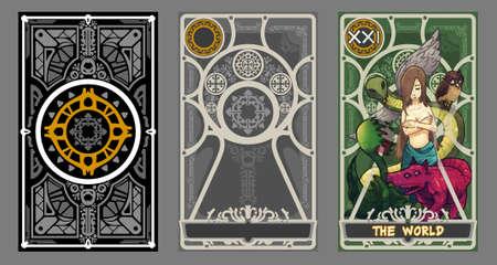gitana: conjunto Ilustración de cartas del tarot. Traje del mundo y última página con trazado de recorte.