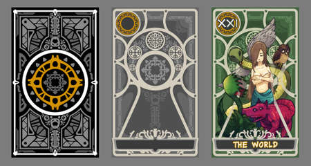 fortune: Tarot card illustration set.  Suit of the world and back page with clipping path.